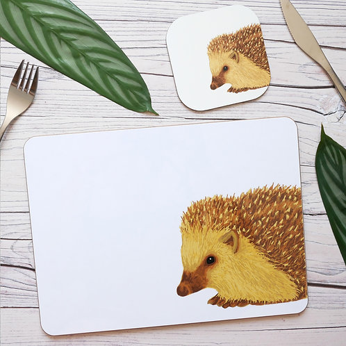 Silverpasta illustrated hedgehog table place mats and coasters on table