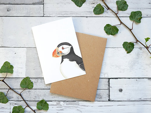 Silverpasta illustrated animal greetings card made from recycled paper featuring a puffin with plastic free packaging