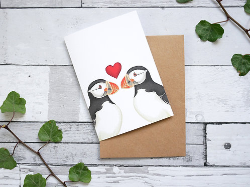 Silverpasta illustrated valentine's card recycled paper two puffins with red heart plastic free packaging