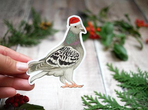 silverpasta christmas pigeon wearing santa hat vinyl 10cm sticker