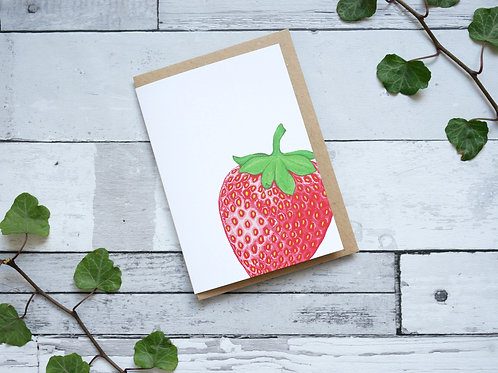 Silverpasta illustrated greetings card made from recycled paper featuring a strawberry with plastic free packaging