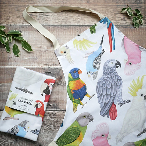 Parrots cotton apron and tea towel set by Silverpasta Crafts