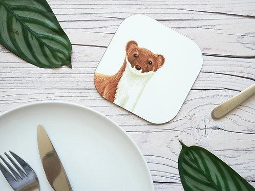 Silverpasta illustrated animal 10cm coaster featuring stoat