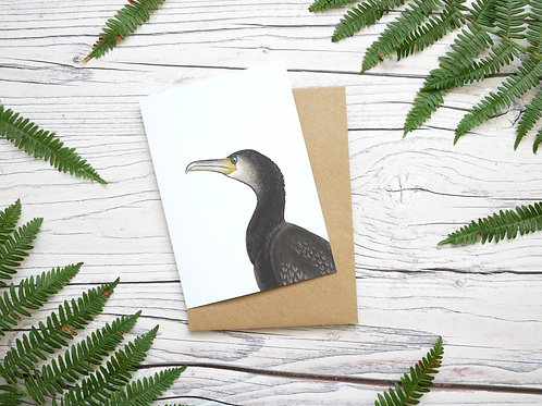 Illustrated cormorant greetings card made from 100% recycled card and plastic-free wrapper