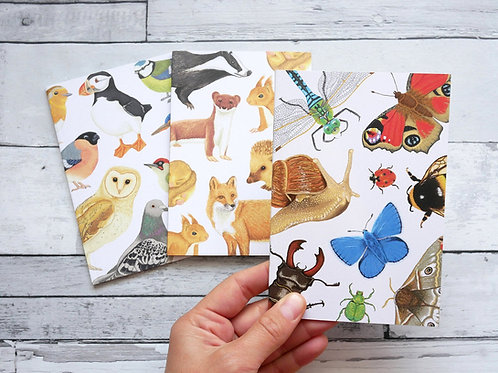 Set of three silverpasta recycled notebooks with illustrated wildlife animals british birds mammals and insects