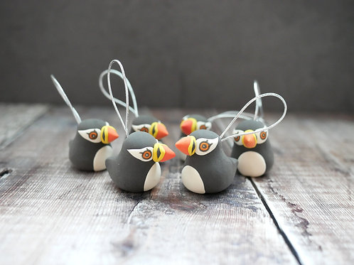 Handmade Puffin Christmas Tree Decorations