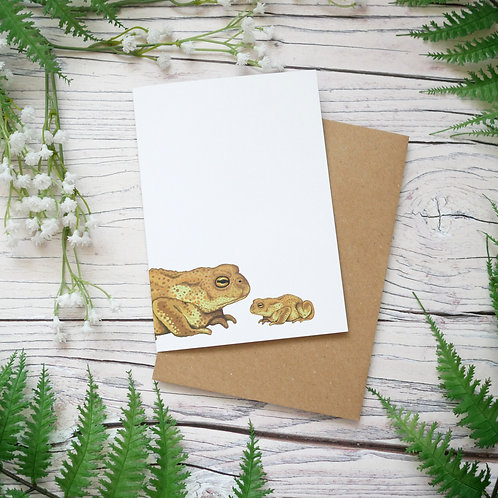 Father's day toads card made from 100% recycled paper designed by Jess Smith from Silverpasta Crafts