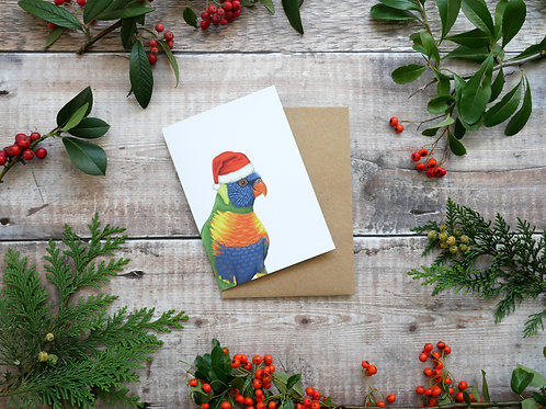 Illustrated rainbow lorikeet wearing santa hat Christmas card made from recycled paper and eco friendly plastic-free wrapper