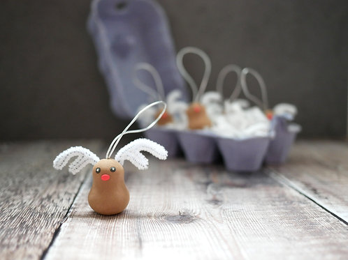 Silverpasta handmade reindeer rudolph Christmas tree decoration made from air dry clay and plastic-free packaging