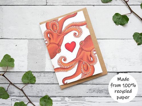 Silverpasta illustrated valentine's card recycled paper two octopuses with red heart plastic free packaging