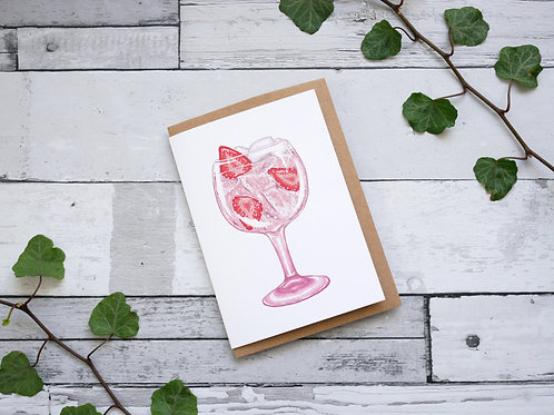 Silverpasta illustrated greetings card made from recycled paper featuring a glass of pink gin with plastic free packaging