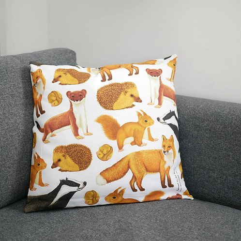 Illustrated Silverpasta british woodland mammals fox hedgehog badger animal wildlife inspired cushion cover made from cotton