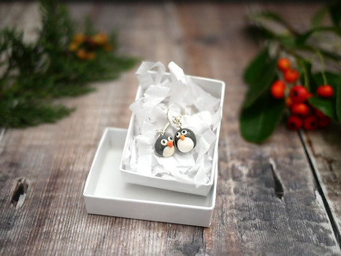 tiny handmade christmas penguin earrings in a white recycled gift box