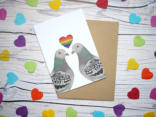Rainbow Valentine's Day Pigeons Card