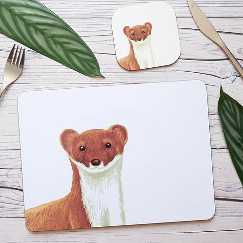 Silverpasta illustrated stoat table place mats and coasters on table