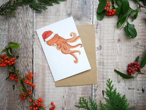 festive christmas octopus card made from recycled paper with kraft brown envelope