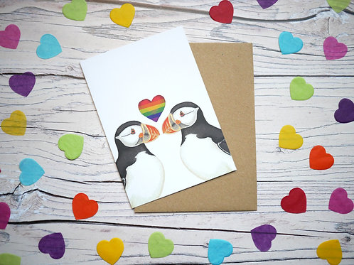 Rainbow heart LGBT puffin card by Silverpasta Crafts