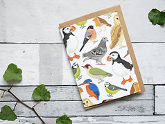 British birds recycled illustrated greetings card