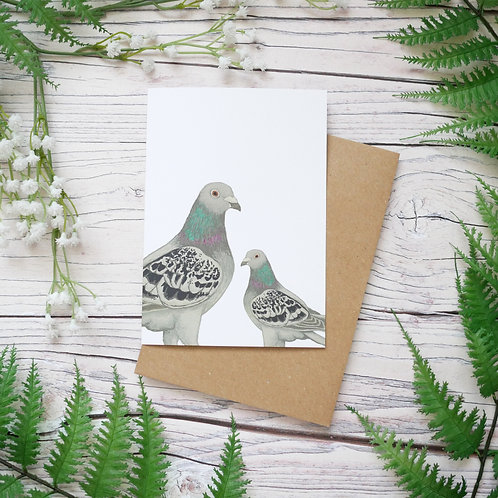Mother's day pigeons card made from 100% recycled paper designed by Jess Smith from Silverpasta Crafts
