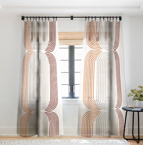 Mid Century Line Art VII-Sheer Curtain