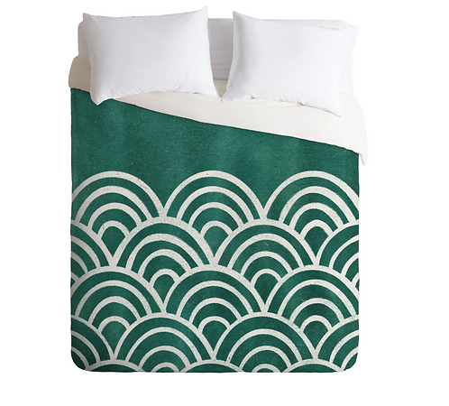 Scallop Teal Duvet Cover