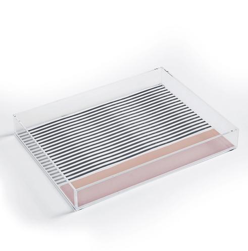 Minimal Stripe Pink Acrylic Tray