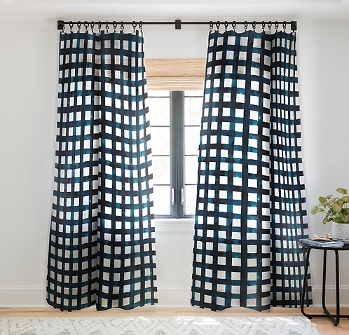 Bold Grid Plaid Navy-Sheer Curtain
