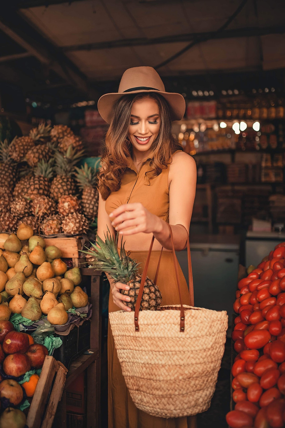 Pretty woman buying fruit