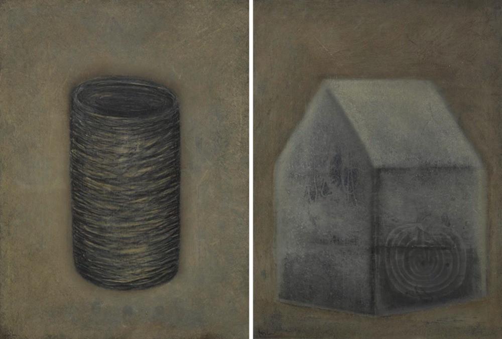 Senza titolo, 2000, olio e pastello su metallo, cm 40 x 29,5 ognuno