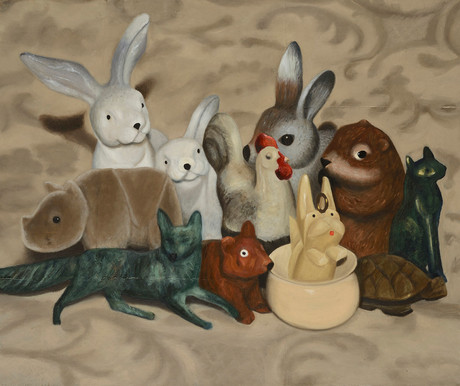 Senza titolo, 2012, olio su carta su tela, cm 100 x 120
