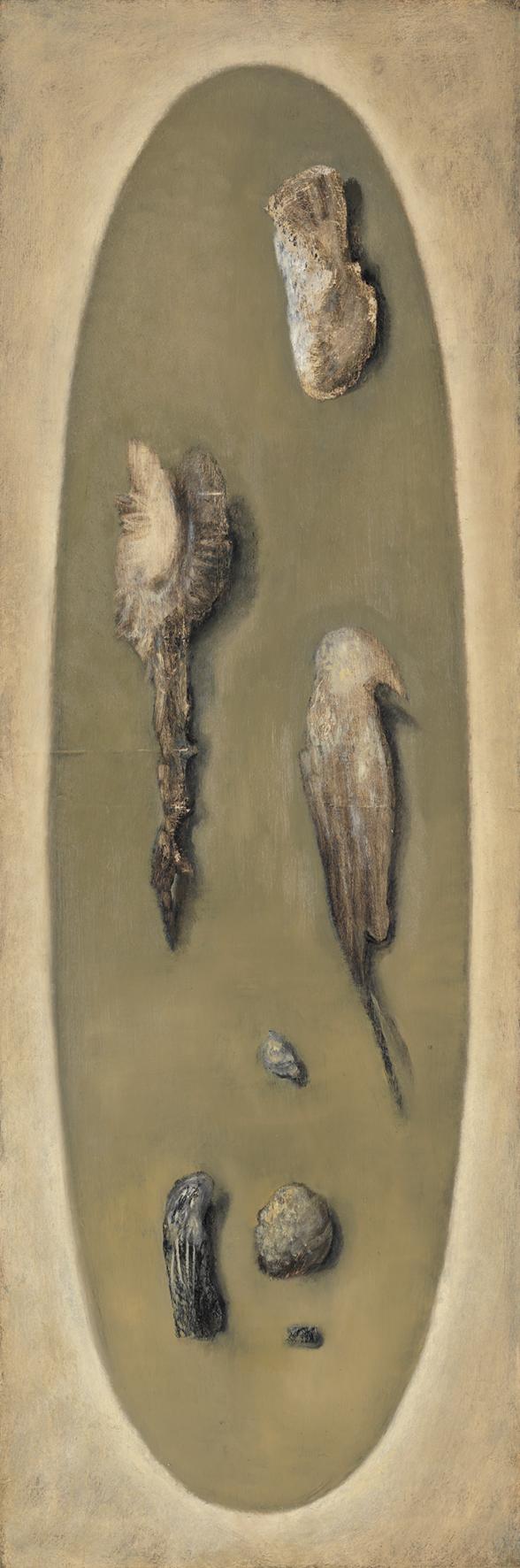Senza titolo, 2008, olio su carta su tela, cm 150 x 50