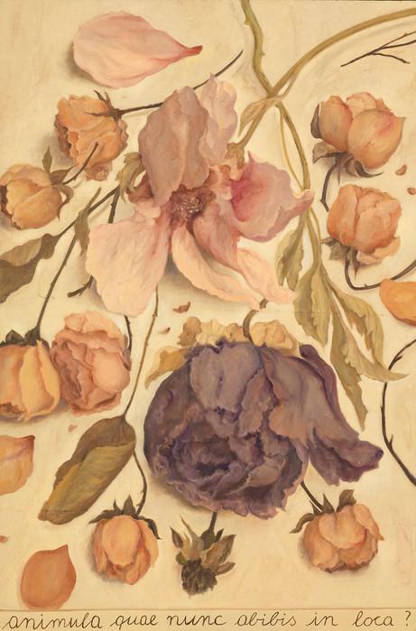 Animula, 2017, olio su carta su tela, cm 150 x 100