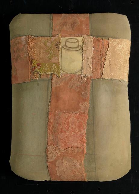 Senza titolo, 2014, stoffa olio su carta su tela, cm 37 x 26 x 4