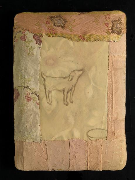 Senza titolo, 2014, stoffa olio su carta su tela, cm 42 x 32 x 5,5