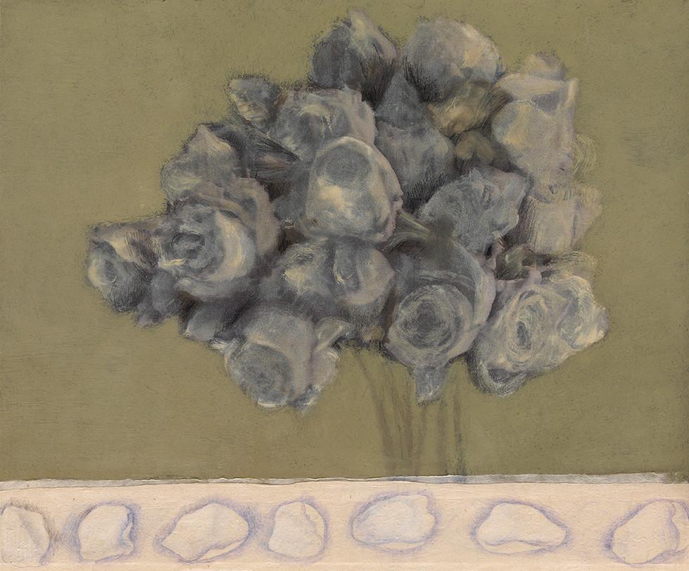 Senza titolo, 2011, olio collage pastello, cm 34 x 40
