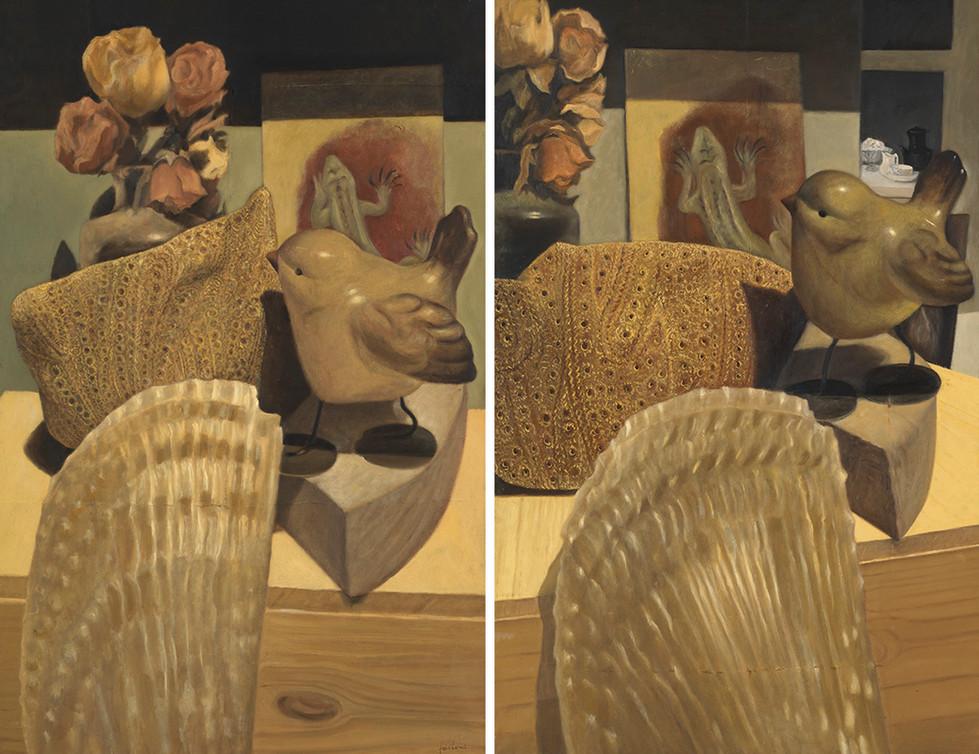 Senza titolo, 2014, olio su carta, cm 56 x 42,5 ognuno