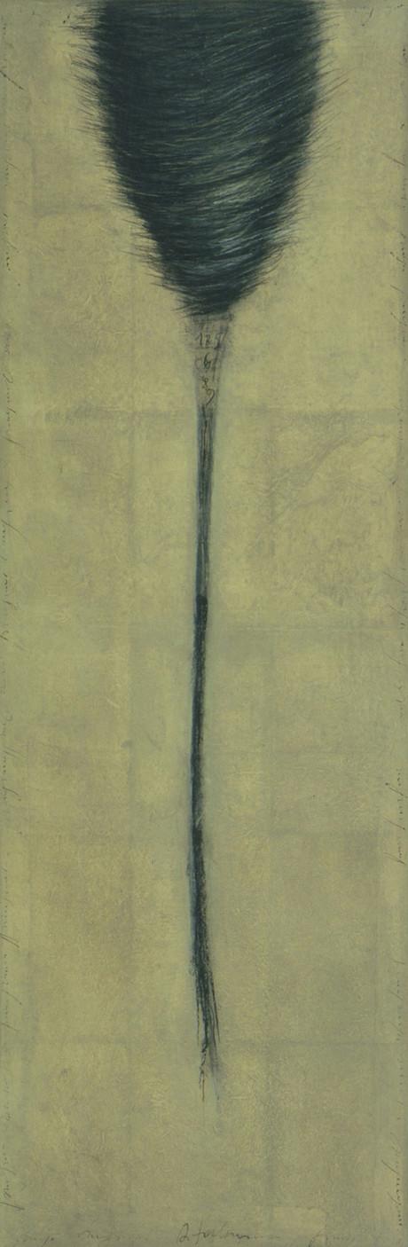Senza titolo, 1997, pastello e olio su carta su tela, cm 150 x 50