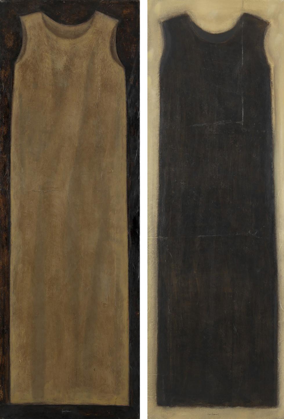Senza titolo, 1998, olio su carta su tela, cm 150 x 50 ognuno
