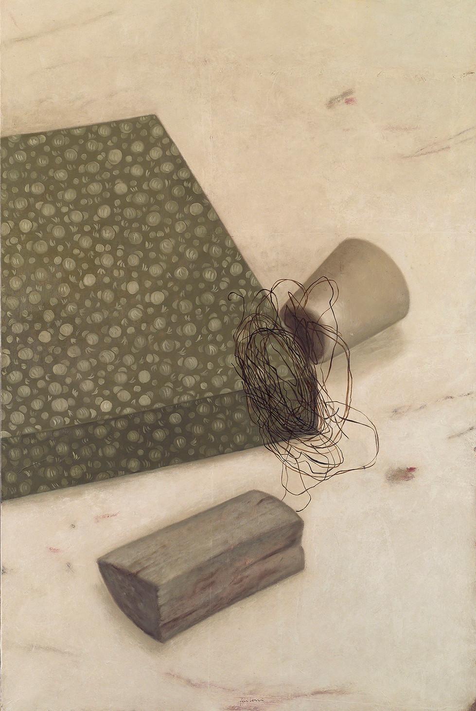 Senza titolo, 2004, olio su carta su tela, cm 150 x 100
