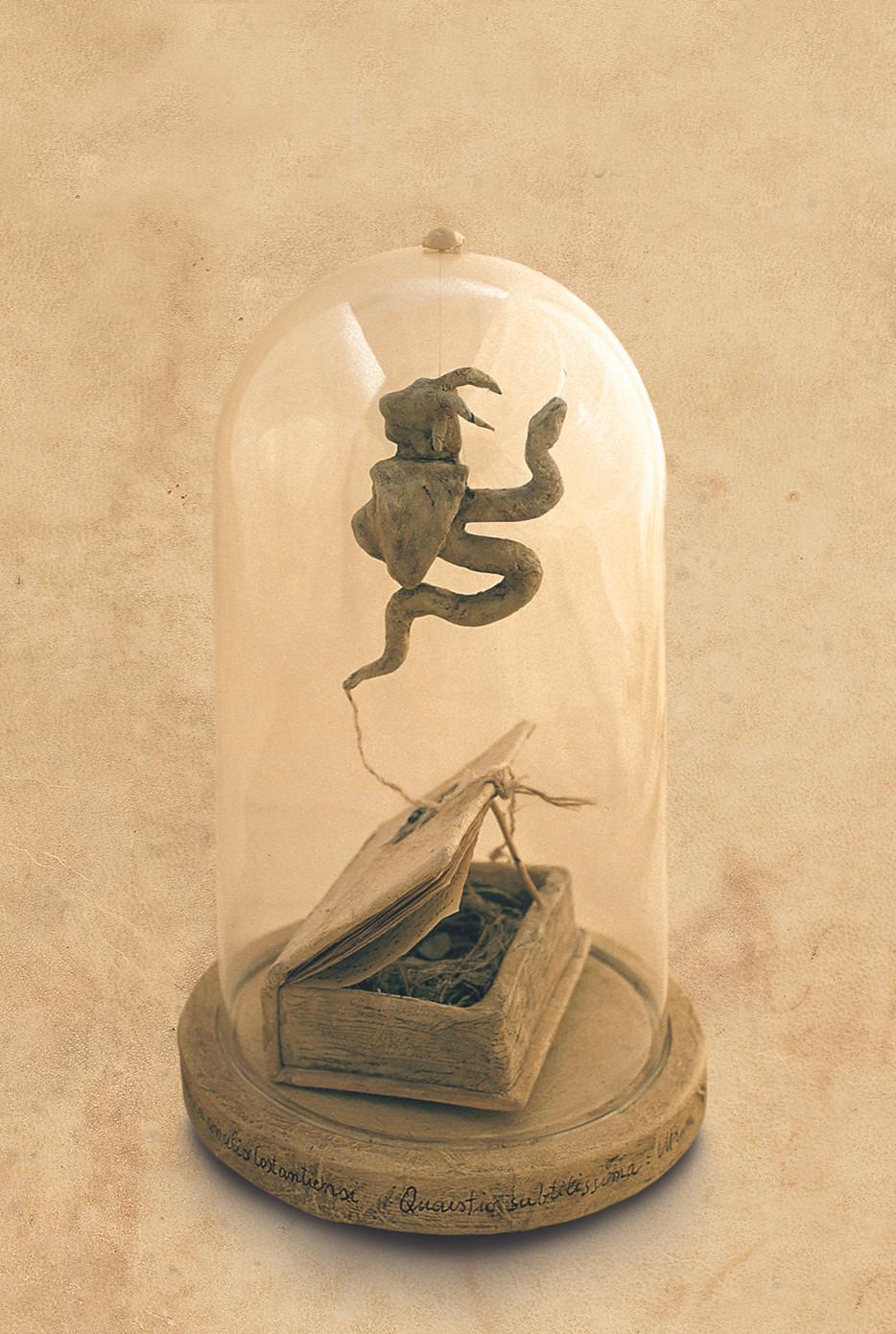 Questio subtilissima, intrum Chimera..., 2003, vetro carta legno, H cm 28