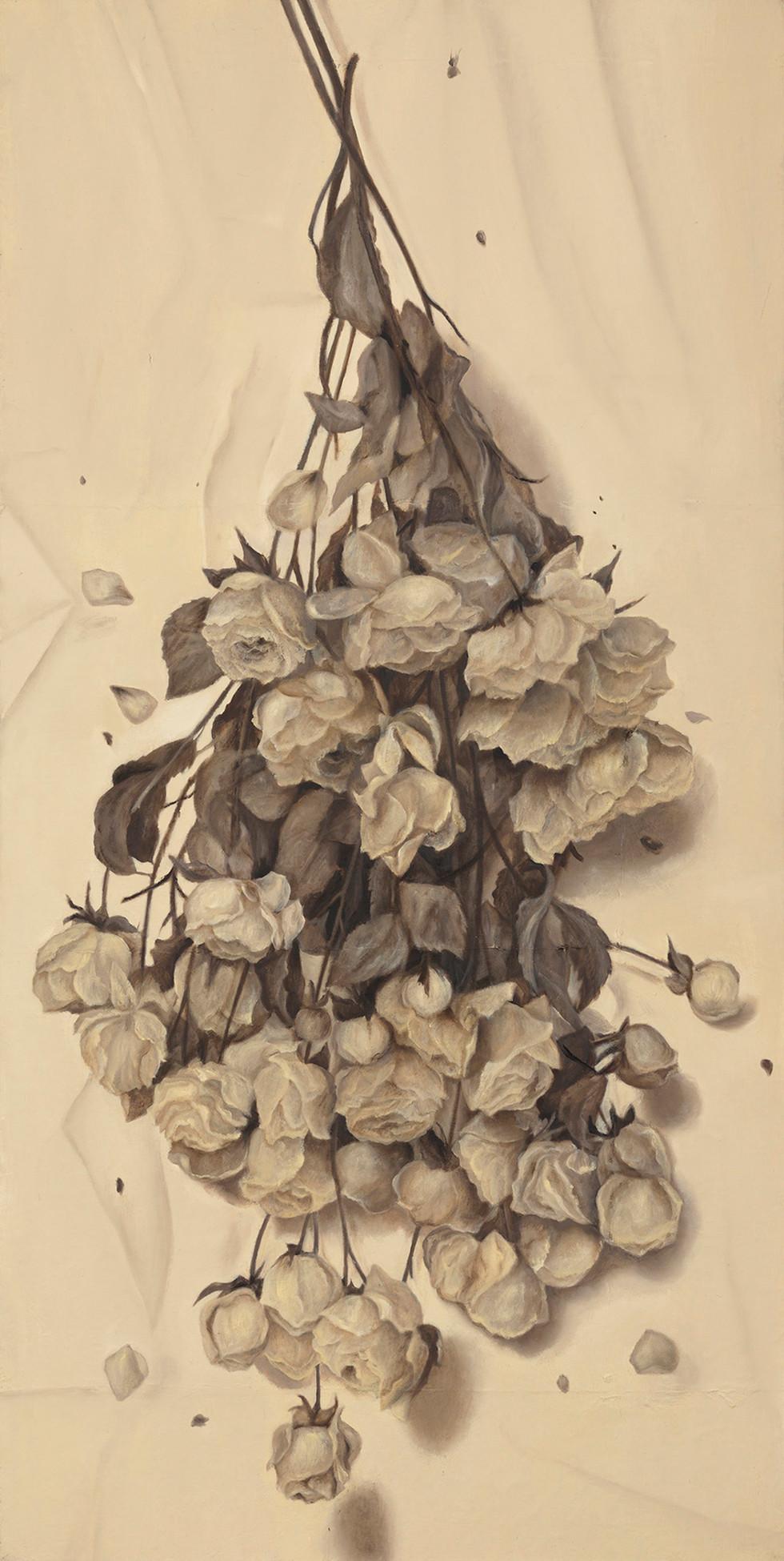 Senza titolo, 2012, olio su carta su tela, cm 180 x 90