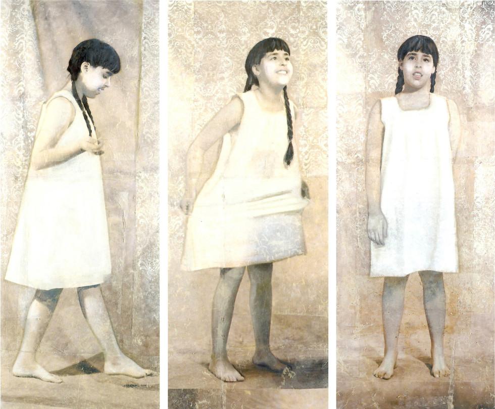 Giulia, 1999, tecnica mista e olio su carta su tela, cm 180 x 70 ognuno