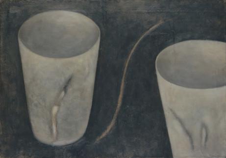 Senza titolo, 1999, olio su carta su tela, cm 70 x 100