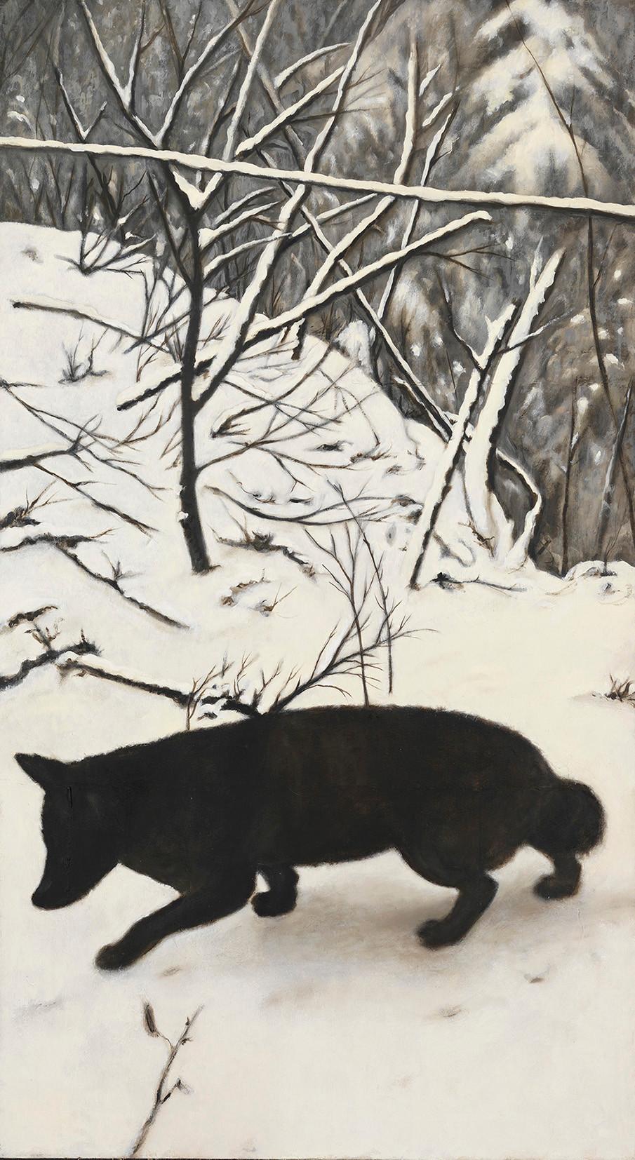 Senza titolo, 2014, olio su carta su tela, cm 145 x 80