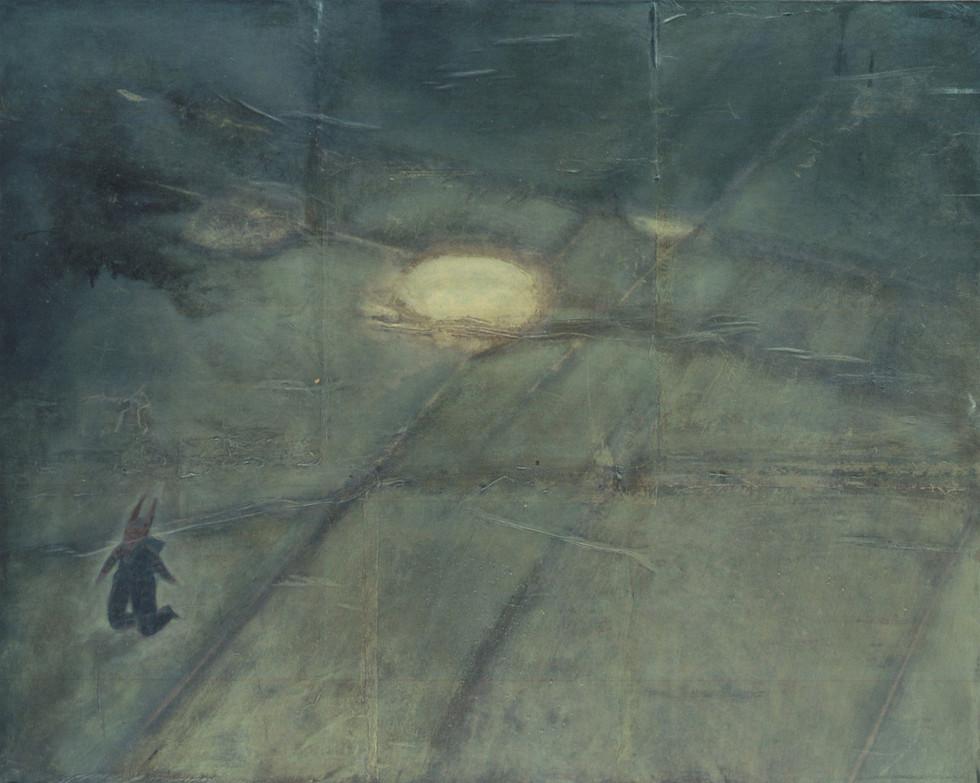 Senza titolo, 2000, tecnica mista su carta su tela, cm 120 x 150