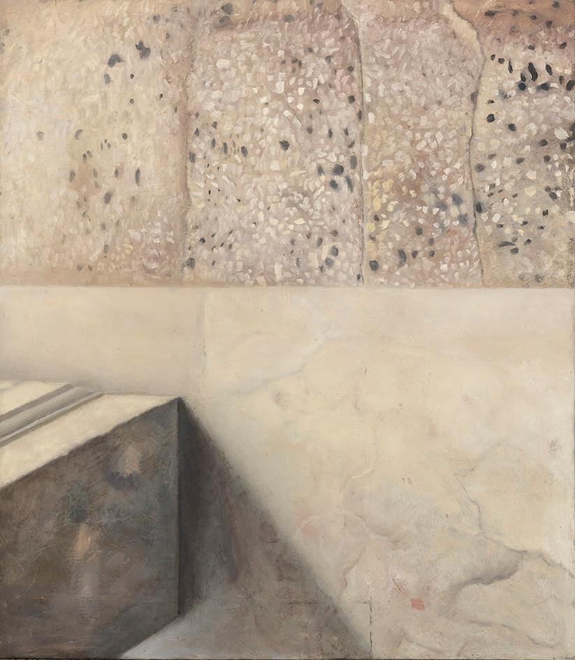 Senza titolo, 2020, olio su carta su tela, cm 80 x 70