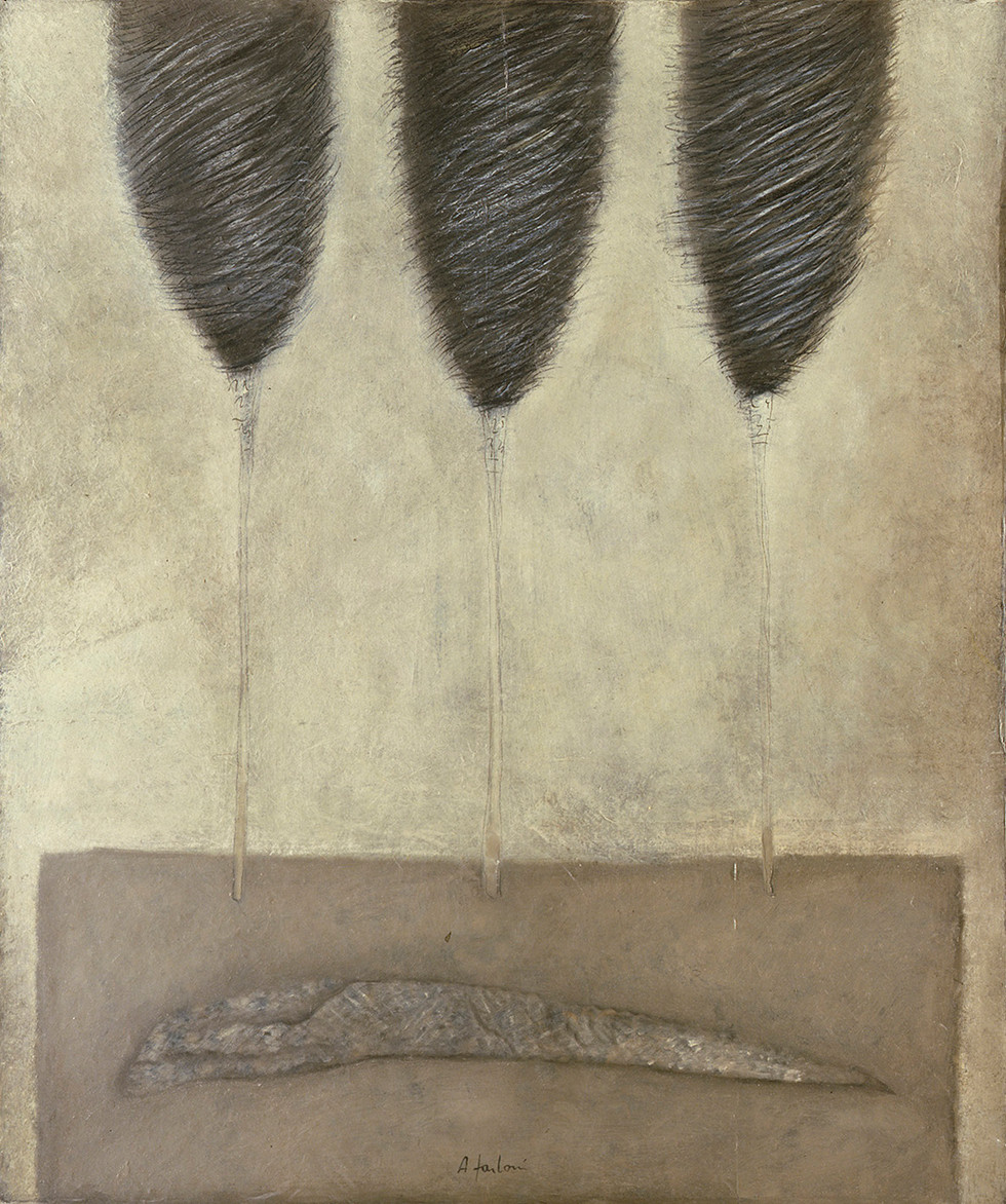 Senza titolo, 1998, olio su carta su tela, cm 120 x 100