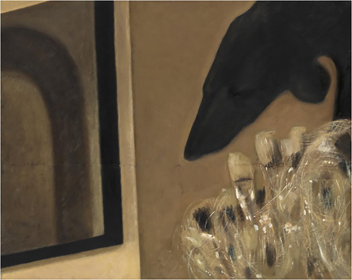Senza titolo, 2010, olio su carta su tela, cm 80 x 100