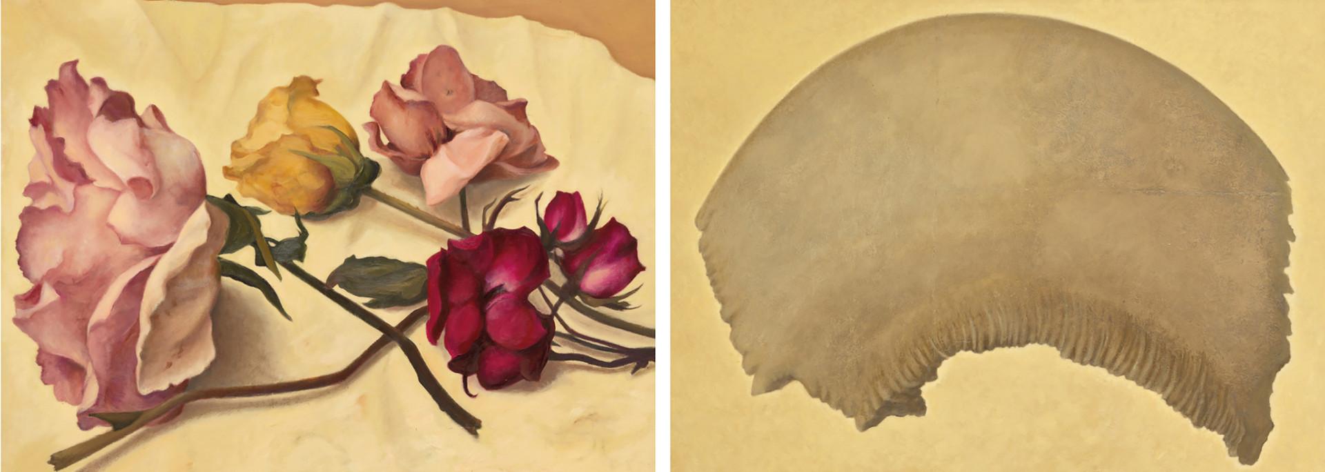 Senza titolo, 2019, olio su carta su tela, cm 110 x 80 ognuno