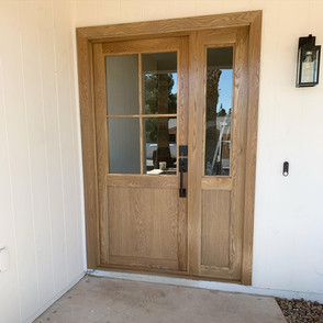 White Oak Front Door W/ Skylight